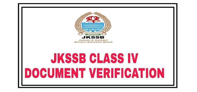 JKSSB Class IV New Document Verification Notification