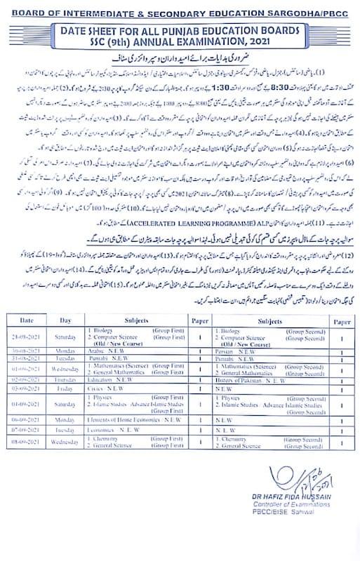 9th class date sheet 2021