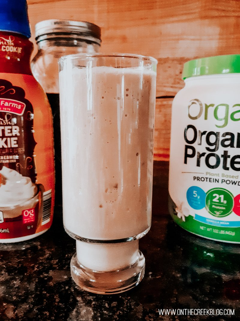 Protein shake using coffee & Orgain Protein Powder!