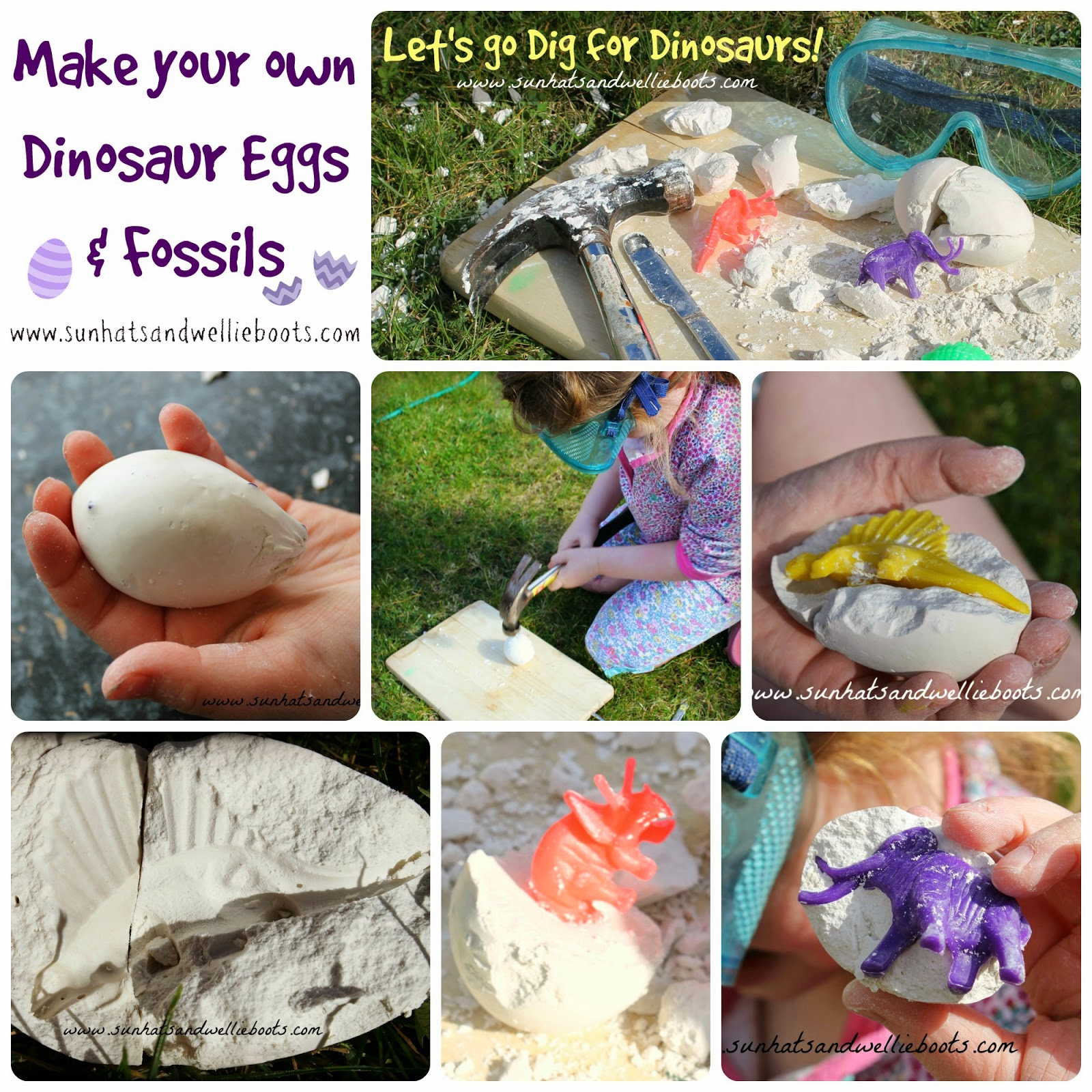 sun hats wellie boots diy dinosaur eggs fossil excavation