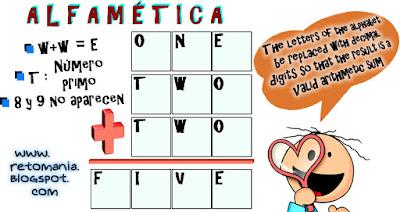 Alfamética, Transversalidad, Criptoaritmética, Criptosuma, Criptogramas, Juego de letras, Juego de palabras