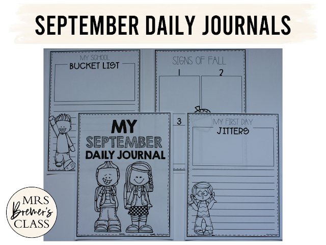 September writing templates for daily journal writing or a writing center in Kindergarten First Grade Second Grade