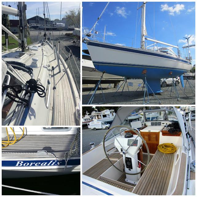 Hallberg-Rassy 37 sailboat exterior teak deck and cockpit and bottom