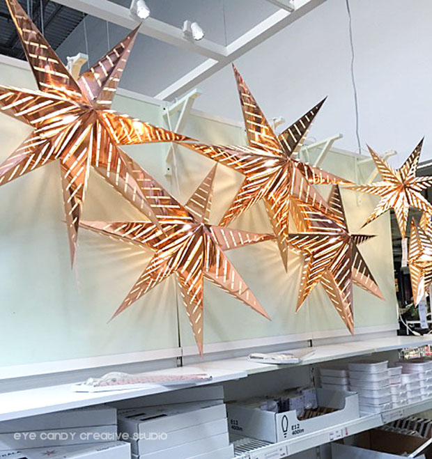 luminated stars, copper stars at IKEA, christmas decorations