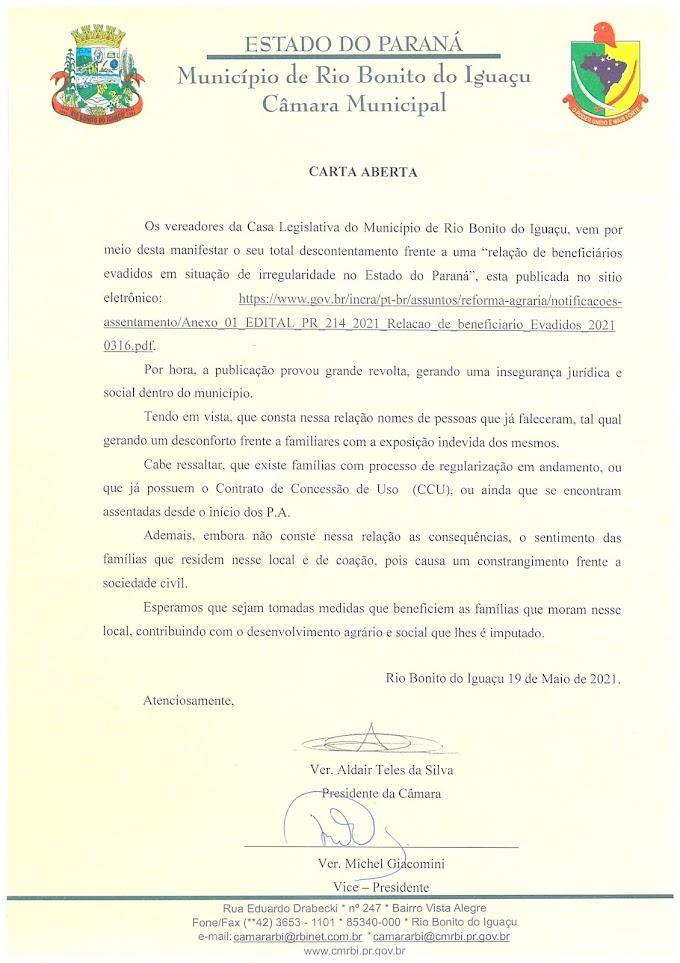 Rio Bonito do Iguaçu: Vereadores irão entregar carta à Ratinho Junior em defesa dos assentados e acampados