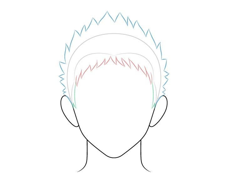 Anime rambut pria runcing belakang dan gambar atas
