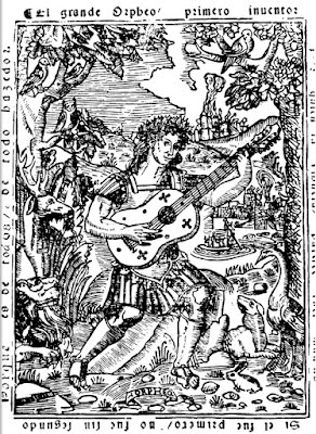 Woodcut of a vihuela player