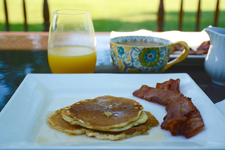 OJ, coffee, pancakes, bacon, breakfast | My Darling Days