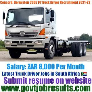 Concord Germiston CODE 14 Truck Driver Recruitment 2021-22