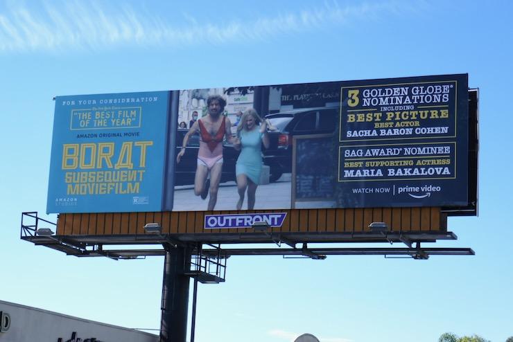 Borat 2 Golden Globe nominee billboard