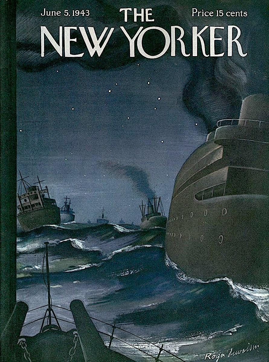 a Roger Duvoisin illustration for The new Yorker magazine June 1943, Navy escort