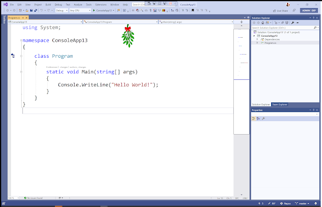 screenshot of Visual Studio showing the mistletoe adornment