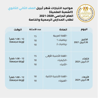 جدول امتحانات ابريل للصف الثانى الثانوى علمى 2021