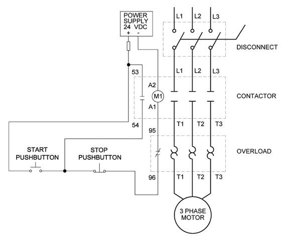 full voltage non reversing 3 phase motor diagram elec. Black Bedroom Furniture Sets. Home Design Ideas