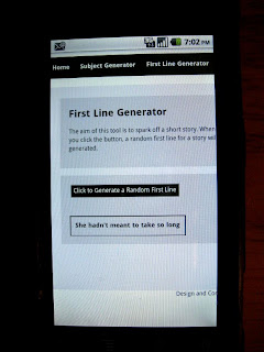 Browser image of random first line generator on phone
