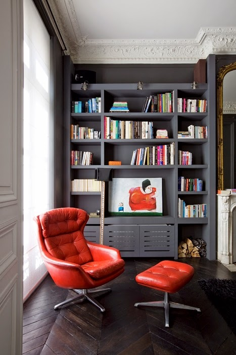library with chevron floors and grey bookcases
