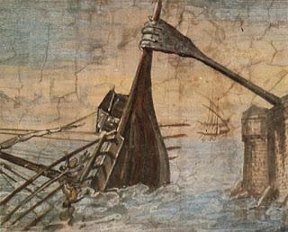 Recreación artística de la garra de Arquímedes. Me recuerda a un utensilio muy práctico para rascarse la espalda.