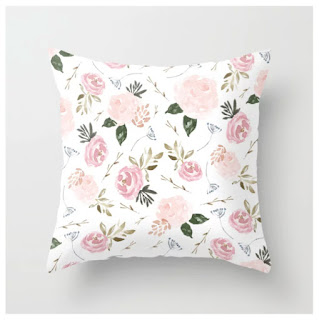 Floral Blossom - Muted Pink Throw Pillow