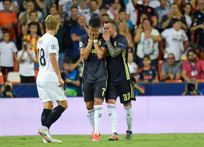 Cristiano Ronaldo Leaves Pitch In Tears After Receiving Red Card In A Champions League Debut For Juventus.