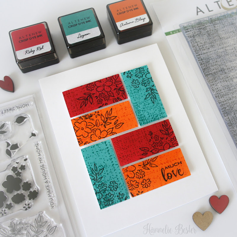 Altenew Ditsy print and rustic linen quilt inspired card