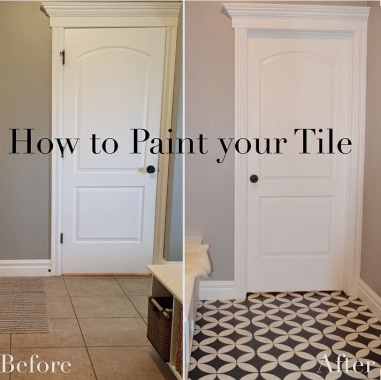 diy painted tile tutorial, floor stencil, painted tile, cement tile