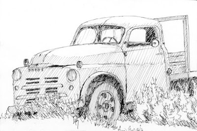 pen sketch art abandoned dodge farm truck
