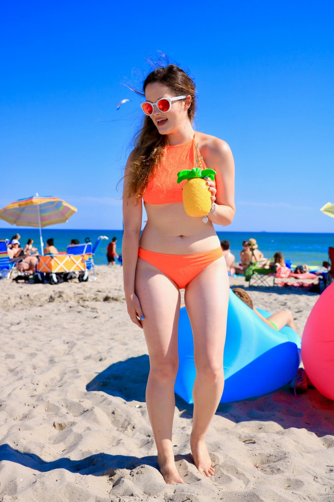 Fashion blogger Kathleen Harper in an aerie halter top bikini