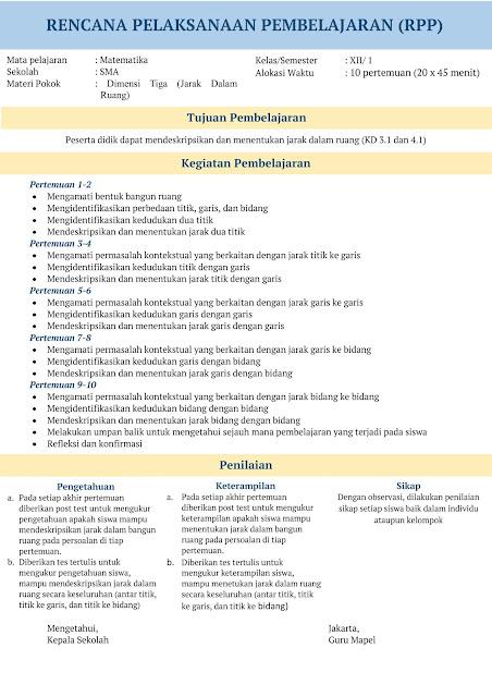 RPP INSPIRATIF SMA Matematika Kelas XII Tahun 2020-2021