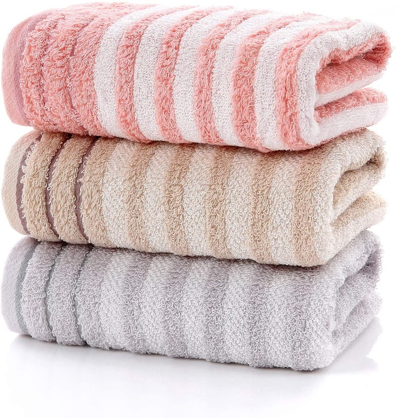 30%OFF Bathroom Hand Towels Set,Striped Pattern 100% Cotton