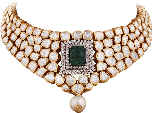 Entice Taraash- Kundan Polki Choker with Carved Emerald and Pearl Drop