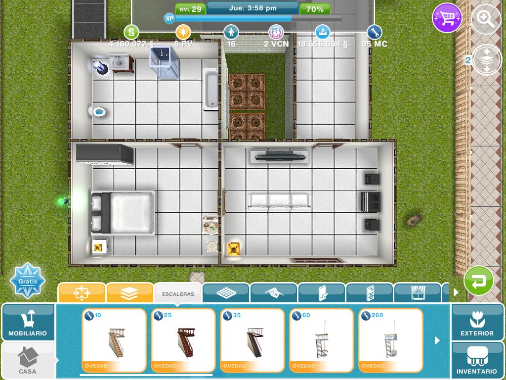 como hacer un segundo piso en los sims free play