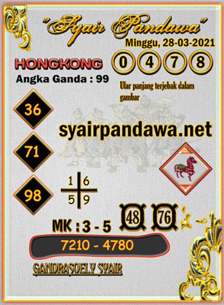 Syair Pandawa HK Minggu 28-Mar-2021