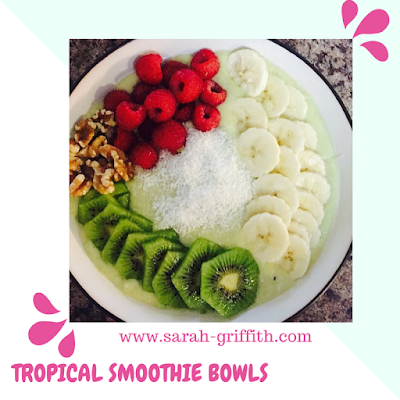 smoothie bowl, gluten free, gluten free smoothie bowl, sarah griffith, healthy snacks, gluten free snacks, tropical smoothie bowl,