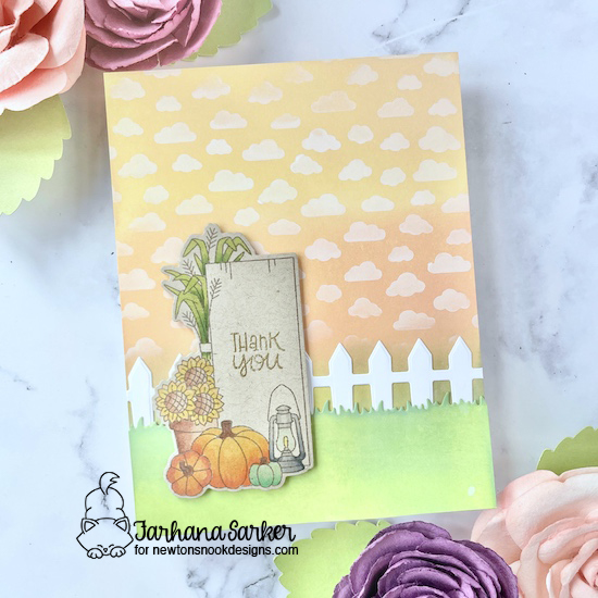 Fall Wooden Sign Card by Farhana Sarker | Signs of Fall Stamp Set, Petite Clouds Stencil and Fence Die Set by Newton's Nook Designs #newtonsnook