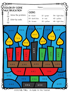 Kwanzaa color by number multiplication candles color
