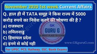 November 2020 1st week Current affairs in Hindi