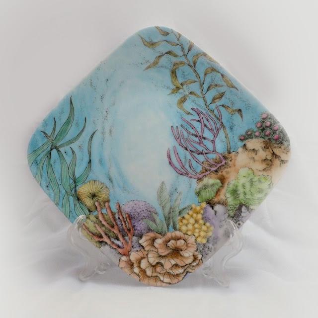 瓷畫創作水草與海葵 - 瓷畫, 瓷繪, 釉上彩, 瓷器彩繪, 手繪瓷器, Porcelain Painting