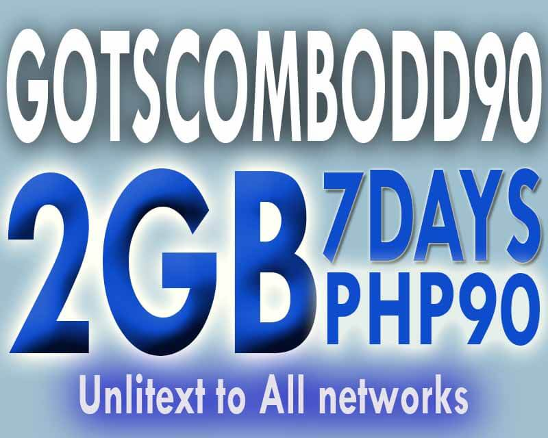 Globe GOTSCOMBODD90 – 2GB Data + Unli SMS to All for 7 Days