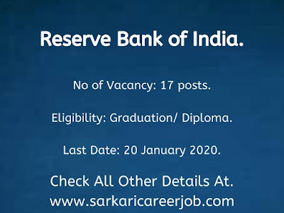 RBI Vacancies 2020 latest Government job vacancies 2020.