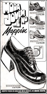 Anúncio sapato masculino plataforma anos 70; moda masculina decada de 70;