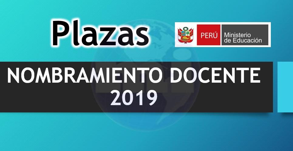 Plazas para Nombramiento Docente 2019