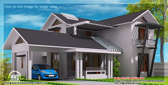 Modern mix sloping roof house