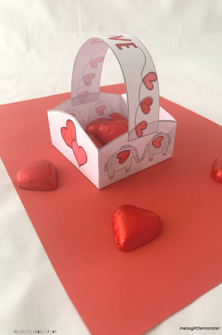 How to make a paper basket Valentine's Day craft for kids
