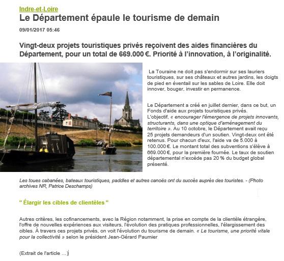 Le département épaule le tourisme de demain Article NR