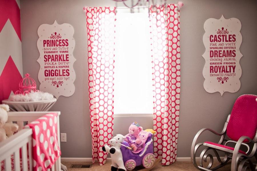 Fresh pink girl fuchsia nursery baby crib rocking chair