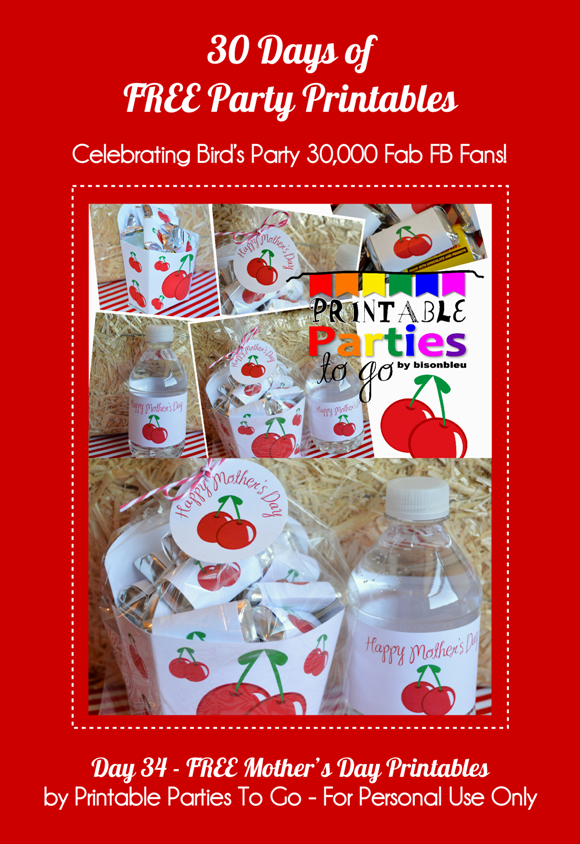 Free Printable Cherry Themed Mother's Day Kit - via BirdsParty.com