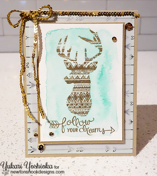 Follow Your Dreams Deer Card by Yukari Yoshioka | Adventure Awaits Stamp set by Newton's Nook Designs #newtonsnook