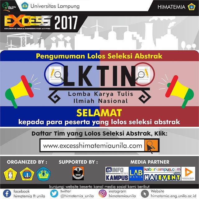 Pengumuman Lolos Seleksi Abstrak LKTIN EXCESS 2017