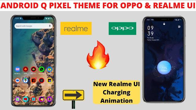 Chủ đề Android Q Pixel cho giao diện người dùng oppo và realme
