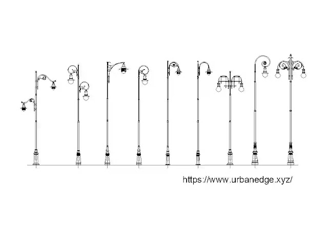 Street Light cad blocks download, 5+ Streel Lamp cad blocks